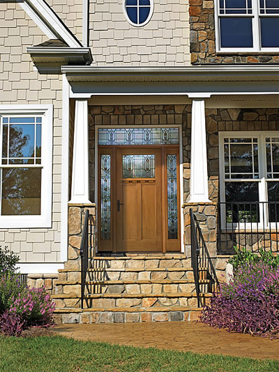 fiberglass front door with a traditional flair