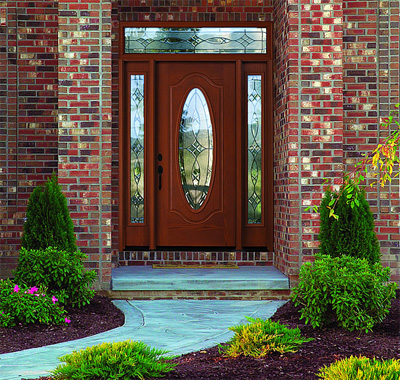 fiberglass entry door gives a look of classic luxury