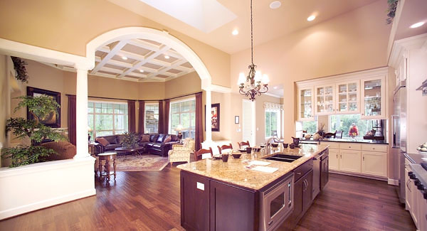 Kitchen And Great Room Share A Large Open Floor Plan