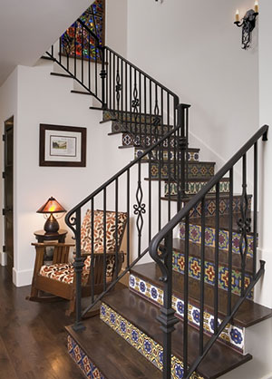 Fireclay Tile Handpainted Tile Staircase