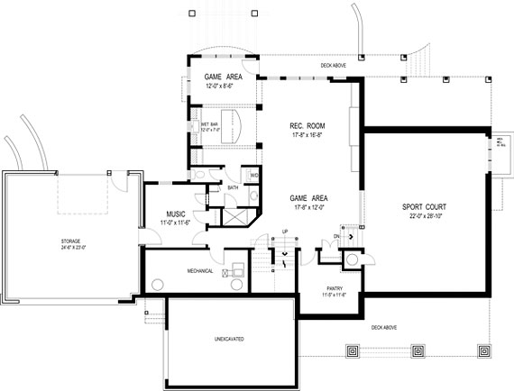 basement floor plan for the olmstead house plan