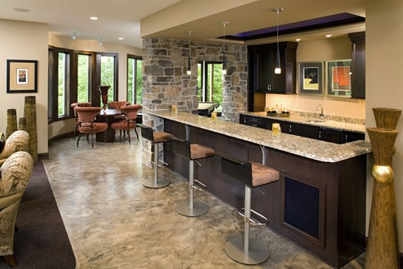 Extend your homes living space with a basement floor plan - Basement wet bar design ...
