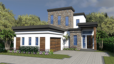 House Plan 1952 is a great example of a luxurious home on a narrow lot.