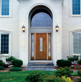 compression molded fiberglass with deep detailed panels and a smooth paintgrade surface this perfectly stylish yet rugged entry door resists the dents front doors