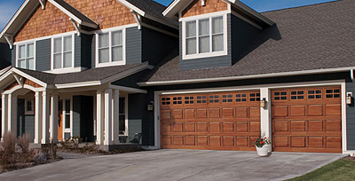 Clopay® CLASSIC™ Wood Collection Model 44 Short Panel with Stockton Short Window Design