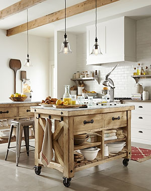 Pottery Barn Kitchen with Fireclay Brick