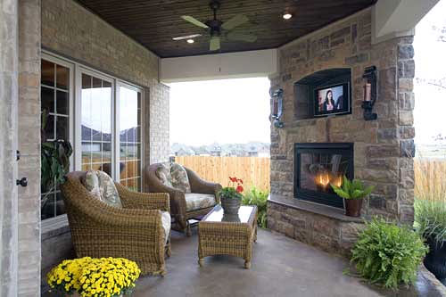 Covered Patio With Stone Fireplace