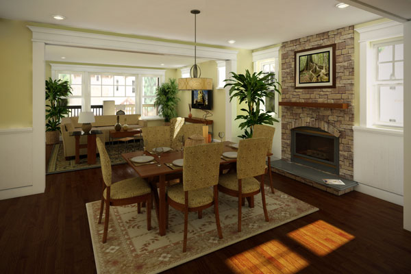 Combining the best of a dining area and an open floor plan, this house plan can do it all.