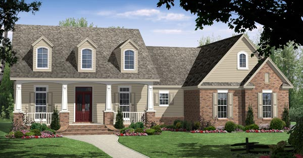 Our Most Popular Budget Friendly House Plans   DFD House PlansThis country style design features front and rear covered porches  a  car garage   a work and storage space  and a great room   a fireplace and