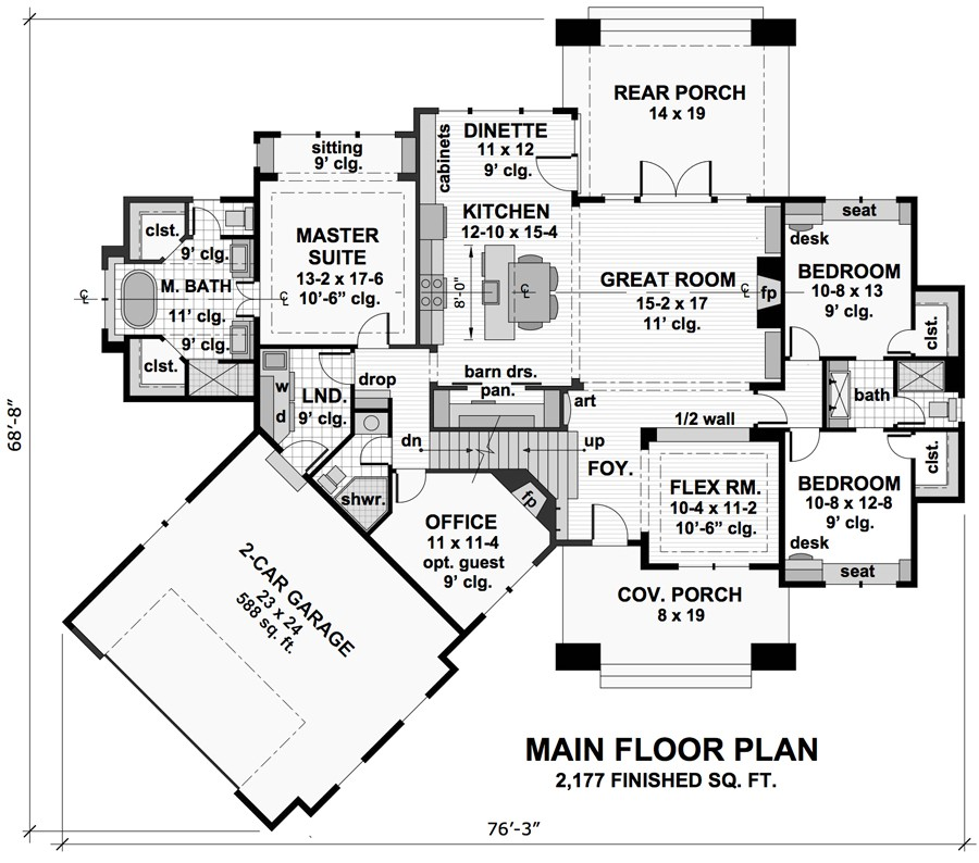 ranch house plan, craftsman house plan, open floor plan