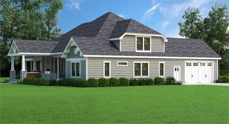 House Plan 9898: Country Craftsman Left Side Elevation