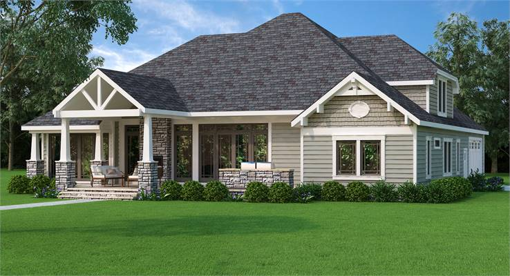 House Plan 9898: Country Craftsman Rear Elevation