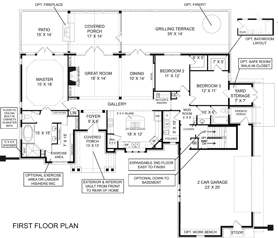 Cottage House Plan   Bedrooms and   Baths   Plan First Floor Plan