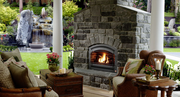 Your deck is glowing with fire features dfd house plans - Houses outdoor fireplace ...