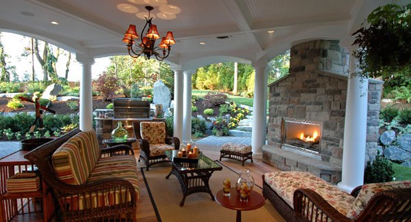 Your deck is glowing with fire features dfd house - Covered outdoor living spaces ...