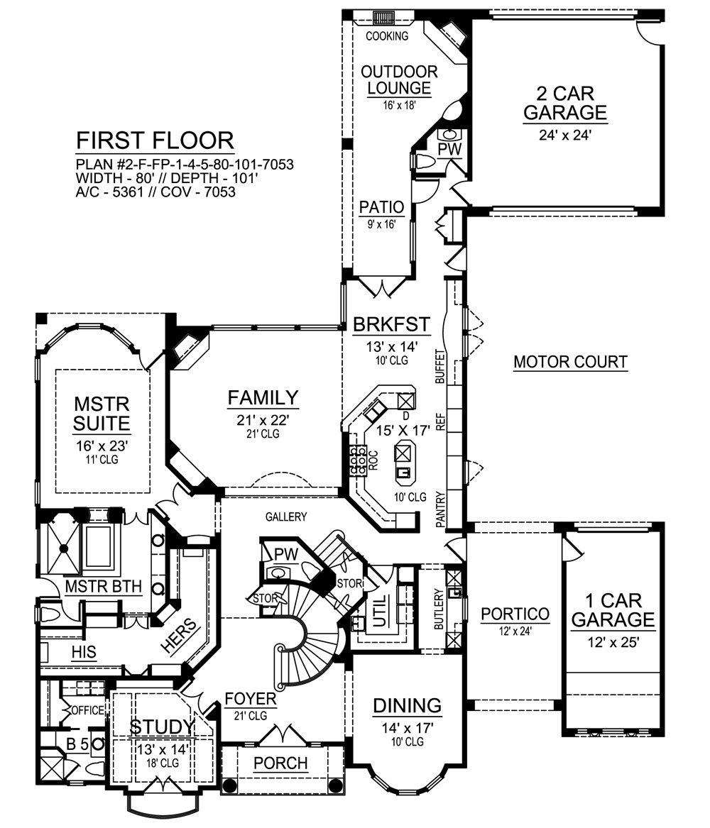 European House Plan   Bedrooms and   Baths   Plan First Floor