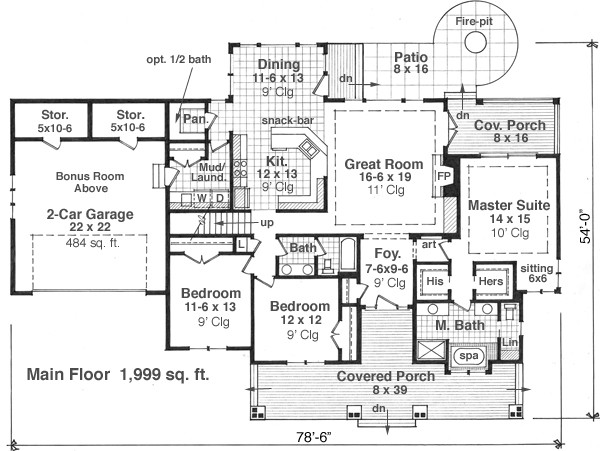 Bungalow House Plan with 3 Bedrooms and 2.5 Baths - Plan 9664