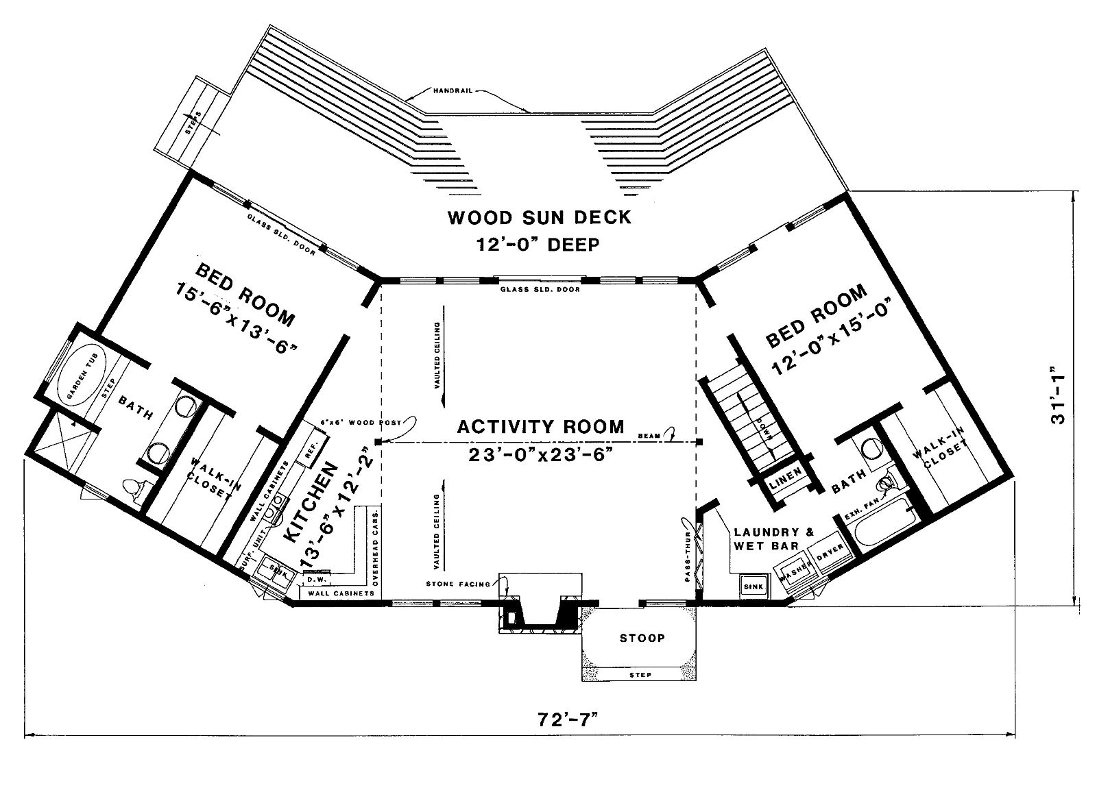Beach House Plan   Bedrooms and   Baths   Plan st floor plan