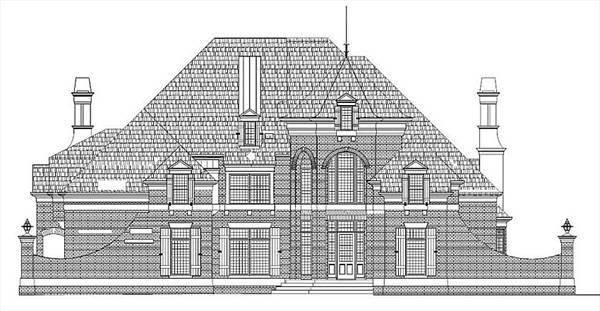 Alternate Brick Front Elevation by DFD House Plans