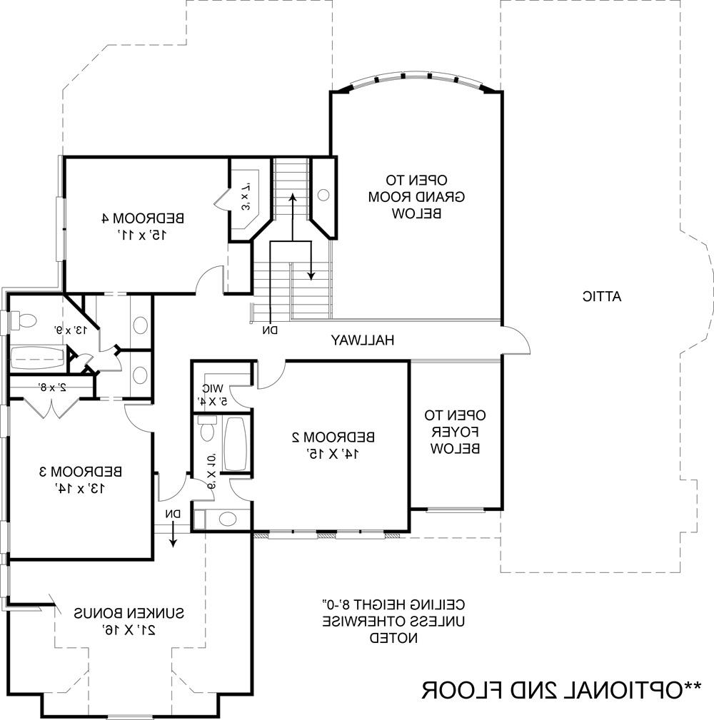 Opt. Second Floor Plan (included in set) by DFD House Plans