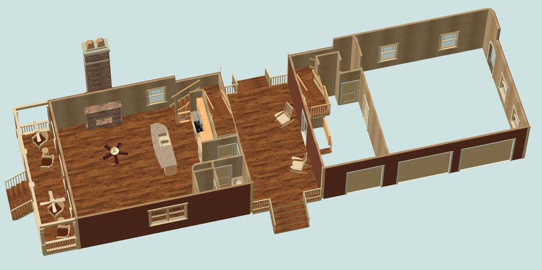 3D 1st Floor by DFD House Plans