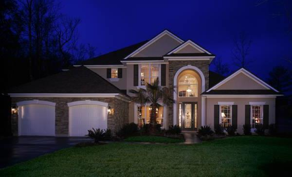 Front Exterior Night by DFD House Plans