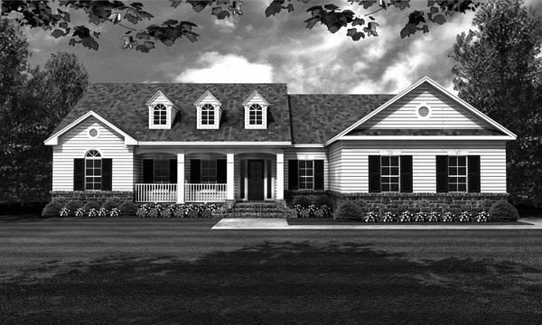 Front Elevation - B/W by DFD House Plans