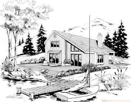 Front/Right Side Rendering by DFD House Plans
