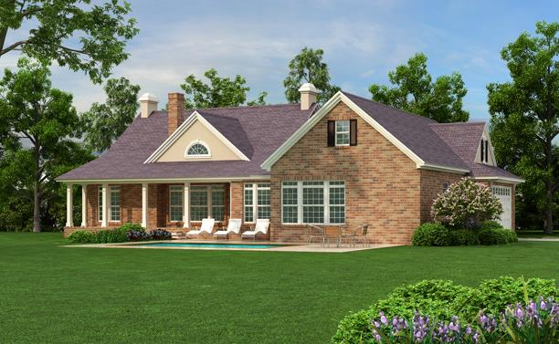 Rear Color Rendering by DFD House Plans
