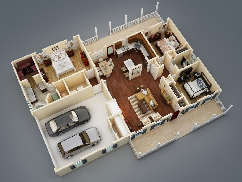 3D Floor Plan by DFD House Plans