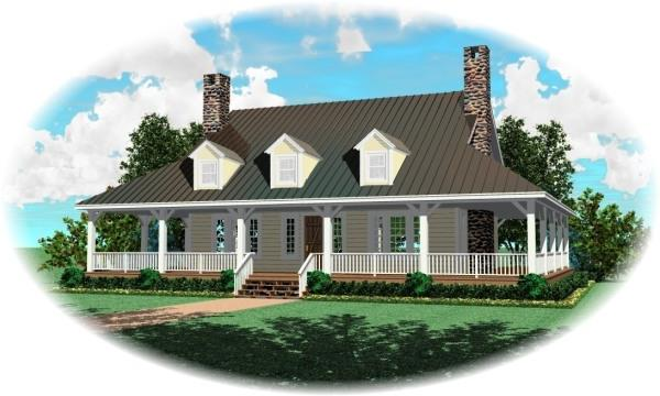 Front with optional dormers2 by DFD House Plans