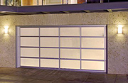 A Striking Modern Aluminum and Glass Garage Door Designed for Light with Privacy